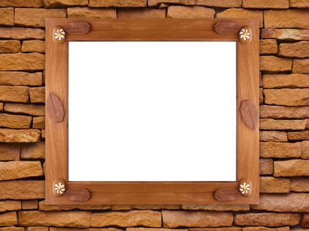 Wooden frame on stone wall Stock Photo - 14717334