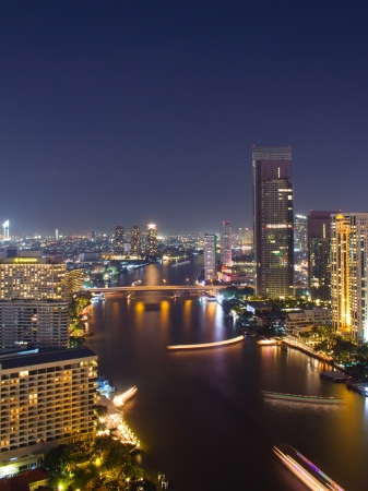 Cityscape of Bangkok Thailand at Jaopraya riverside photo