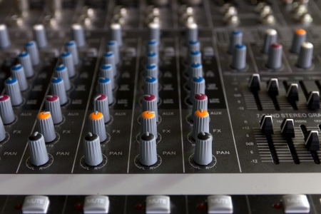 Audio mixer board photo