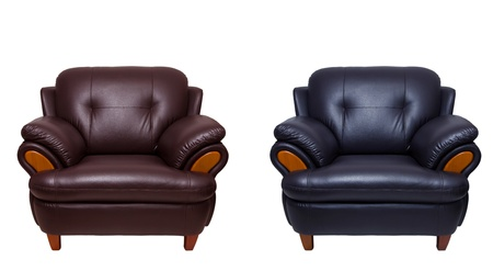 black and brown leather sofa isolated on white