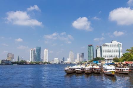 Bangkok,Chao Phraya River cityscape with urban city skyline  Editorial