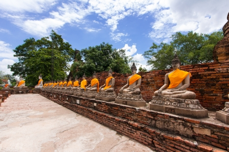 Old Buddha statue in temple at Ayutthaya province, Thailand photo
