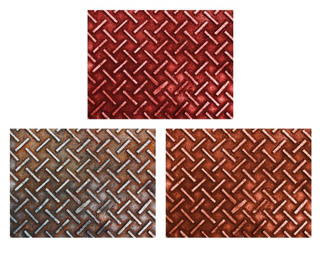 Three in one rusty and grunge steel plate isolated on white background Stock Photo - 22023810