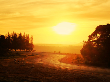 country road in evening Stock Photo