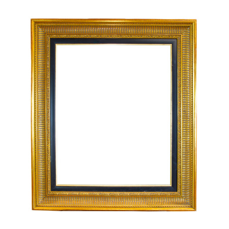 Vintage golden frame isolated on white background