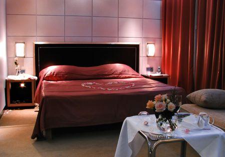 wedding bedroom in hotel photo