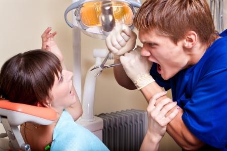 dental practice: dental phobia Stock Photo