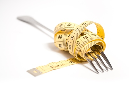 measuring tape on a fork concept photo