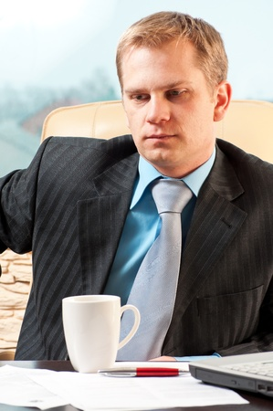 apprehension: portrait of a young businessman in doubt about something Stock Photo