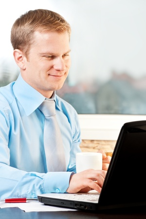 closeup of a businessman working with notebook Stock Photo - 8649633
