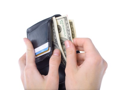 hands taking money from open wallet isolated photo
