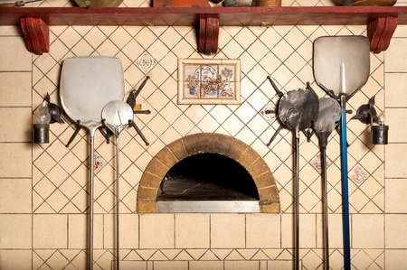 A wood-fired pizza oven in the classic Italian style Stock Photo