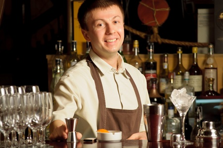 A barman at work - indoors