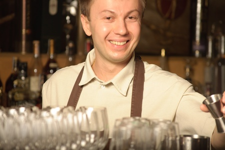 A barman at work - indoors Stock Photo - 9583069