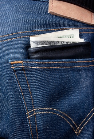 This is wallet sticking out of pocket Stock Photo - 9899809
