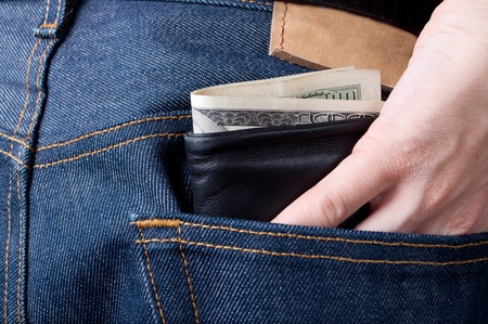 This is wallet sticking out of pocket Stock Photo - 9899795