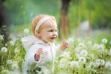Outdoor portrait of a cute little baby in the grass photo