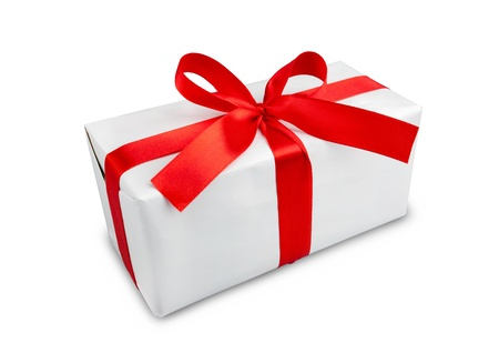 the white box with a red ribbon and bow Stock Photo - 10668031