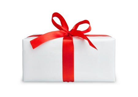 the white box with a red ribbon and bow photo