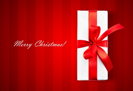 White box and stripped background. Merry Christmas text