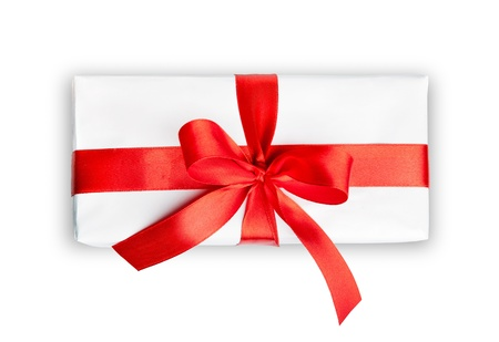 top angle view: the white box with a red ribbon and bow isolated Stock Photo