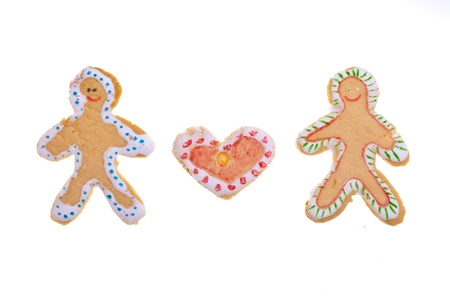 Homemade Gingerbread cookies isolated on white background photo