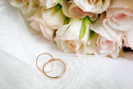 rose ring: This is closeup of wedding bouquet Stock Photo