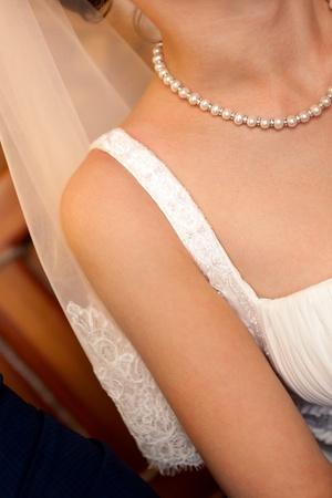 bridal veil: This is a closeup of beautiful bride