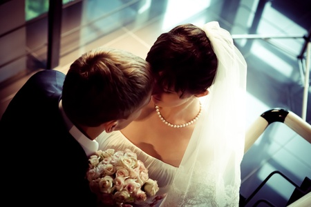 wedding veil: Beautiful Bride and groom together at staircase Stock Photo