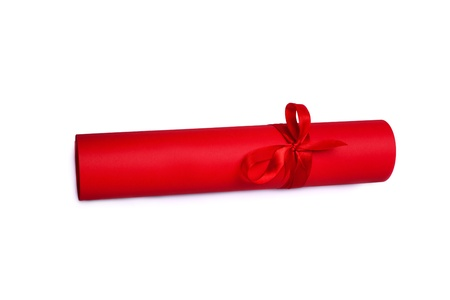 postgraduate: Thos os Rolled red paper with red tape Stock Photo