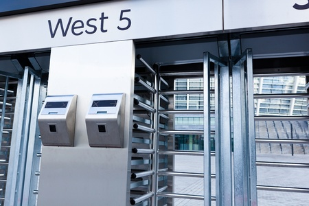 This is closeup of security turnstile on stadium Stock Photo - 12536973