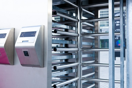 This is closeup of security turnstile on stadium Stock Photo