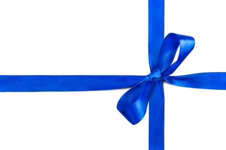 Blue ribbon and bow isolated on white background