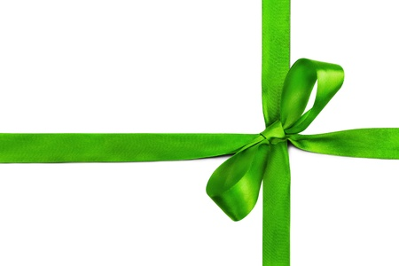 Green ribbon and bow isolated on white background Stock Photo - 12537078