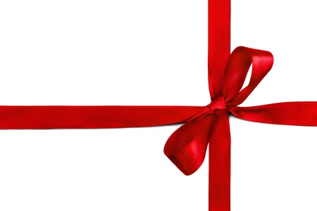 Red ribbon and bow isolated on white background Stock Photo - 12537073