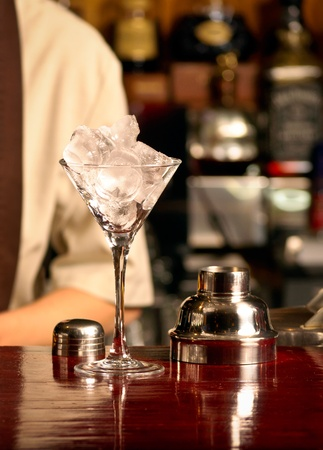 pub food: This is Ice cocktail on the wooden bar Stock Photo