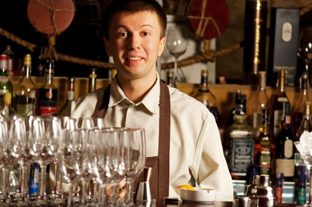This is photograph of a barman at work photo