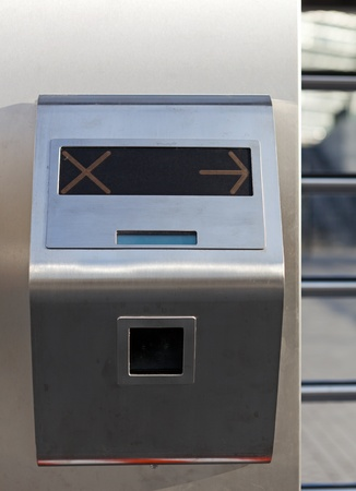 turnstile: This is closeup of security turnstile on stadium Stock Photo