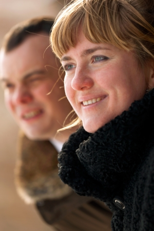 Portrait of a happy young couple - outdoor Stock Photo - 14449609