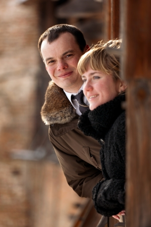 Portrait of a happy young couple - outdoor Stock Photo - 14449605