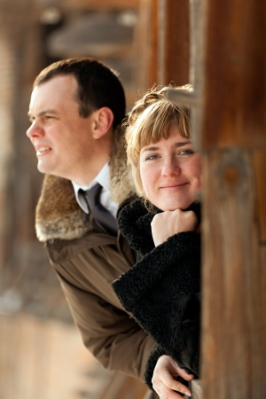 Portrait of a happy young couple - outdoor Stock Photo - 14449604