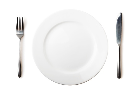 plate setting: Empty plate, fork and knife - isolated over white