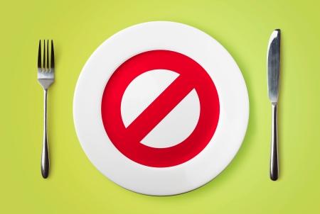 Leere Teller mit verbotenen roten Schild, Gabel und Messer auf grünem Hintergrund Standard-Bild - 15828905