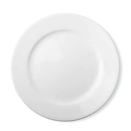 Empty white plate isolated