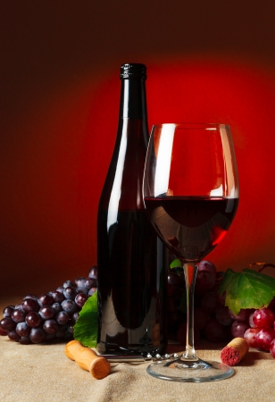 Bottle and glass of red wine - studio shot Stock Photo