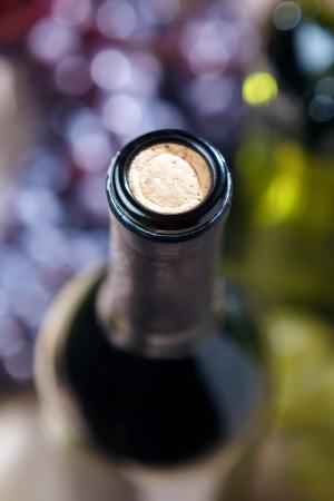 winy: Closeup of wine bottle and cork - studio shot