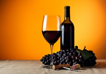 merlot: Bottle and glass of red wine - studio shot Stock Photo