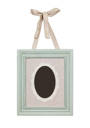 Retro tender frame is hung on a ribbon photo