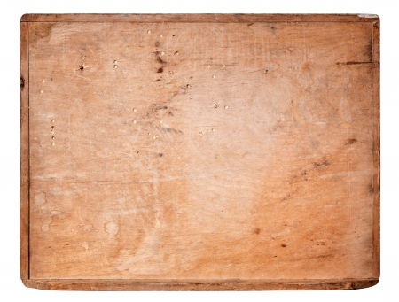 chopping board: Old Wooden board isolated on white background. Stock Photo