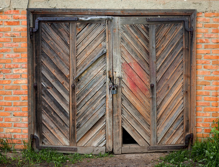 Old wooden barn door. photo